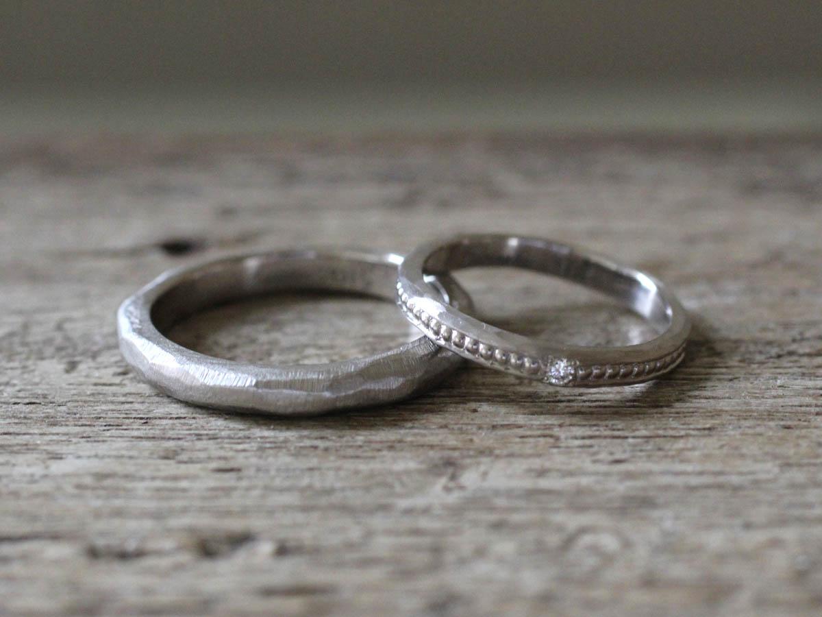 ホワイトゴールド ミル打ち 結婚指輪
