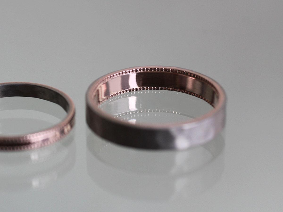 ミル打ち 結婚指輪 内側