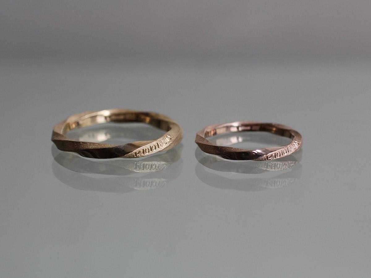 結婚指輪 ねじり ピンクゴールド