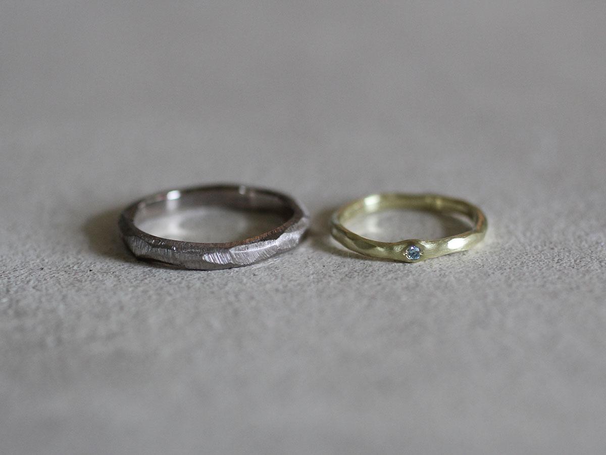結婚指輪 ブルーダイヤ グリーンゴールド