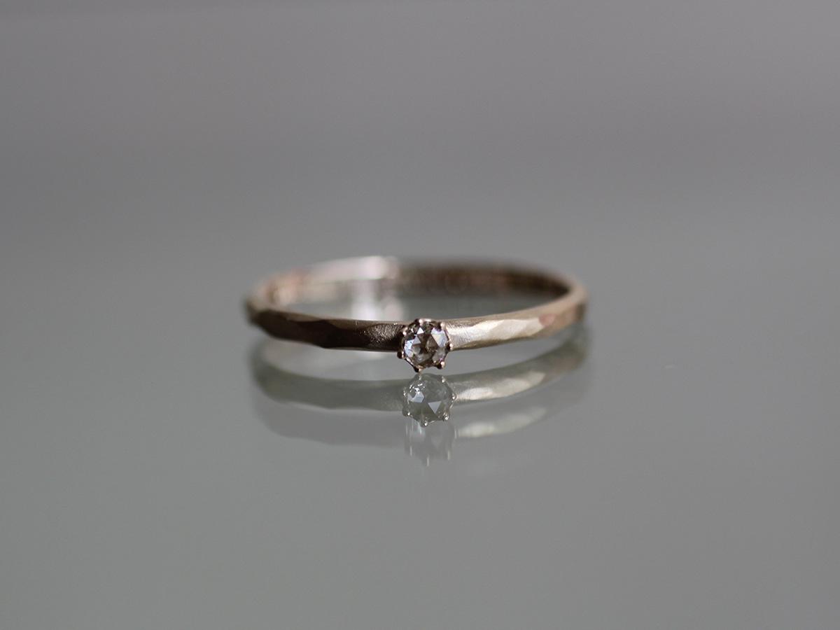 ローズカット 婚約指輪 K10
