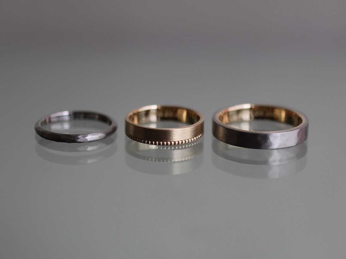 2連 結婚指輪 ミル打ち