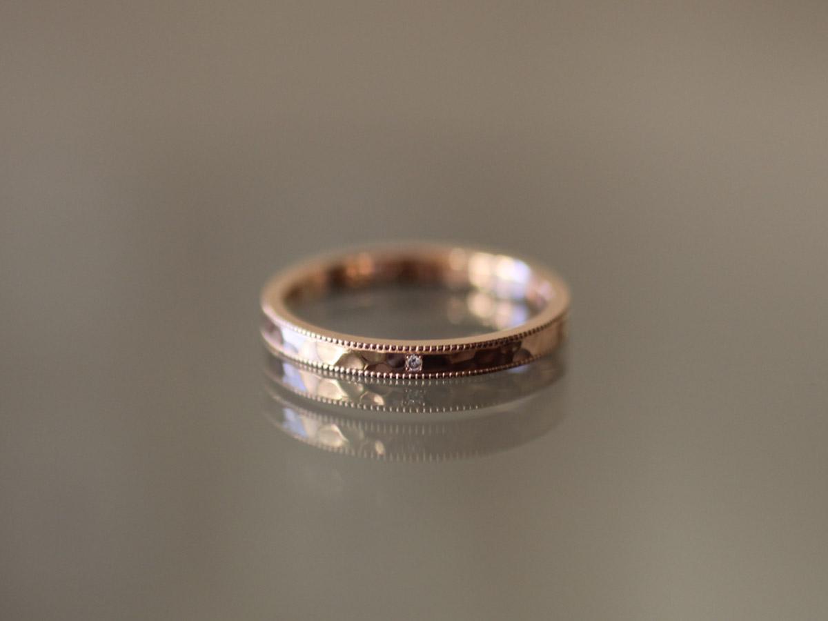 婚約指輪 ピンクゴールド ミル打ち