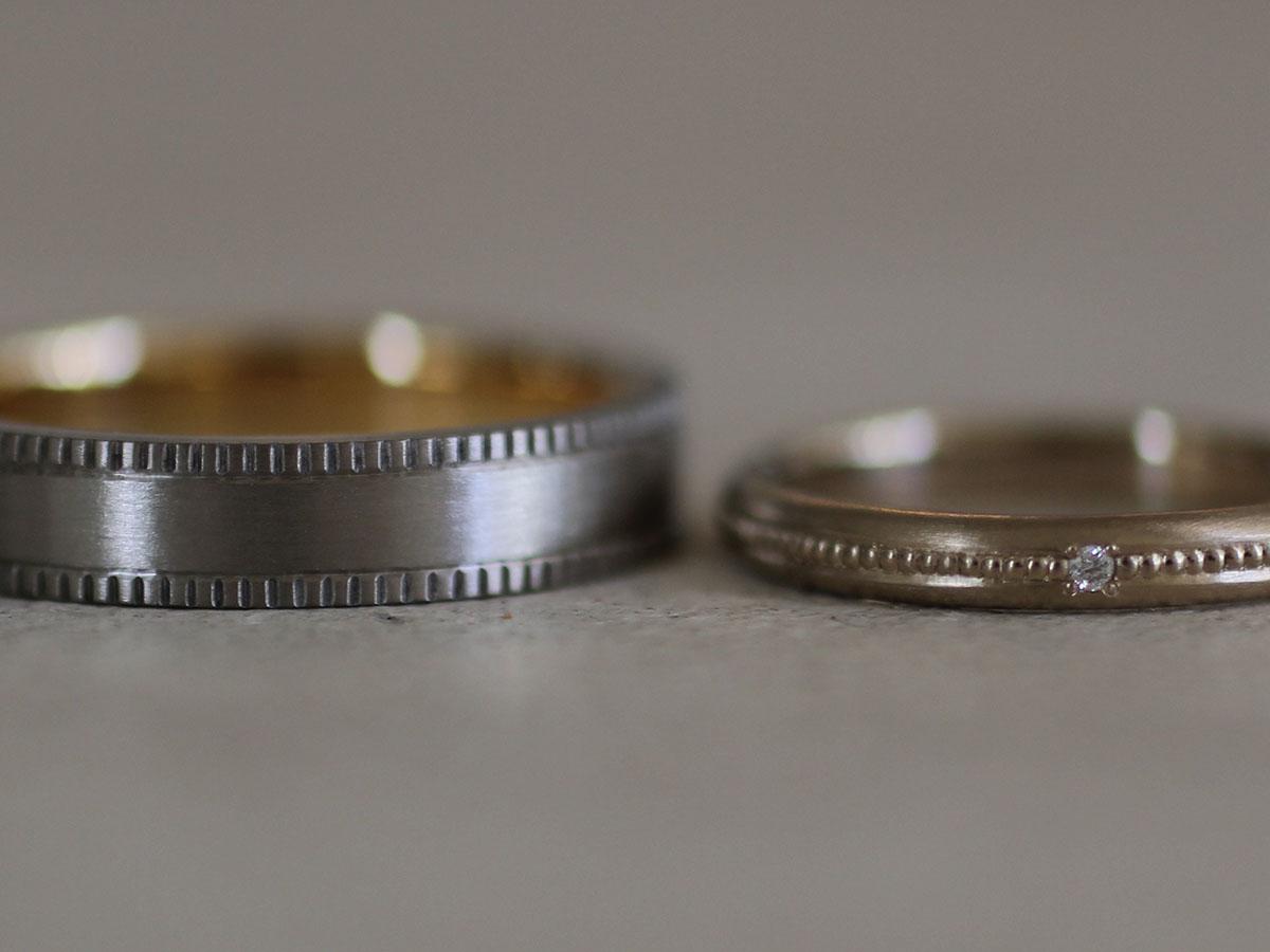 四角いミル打ち ダイヤ 結婚指輪