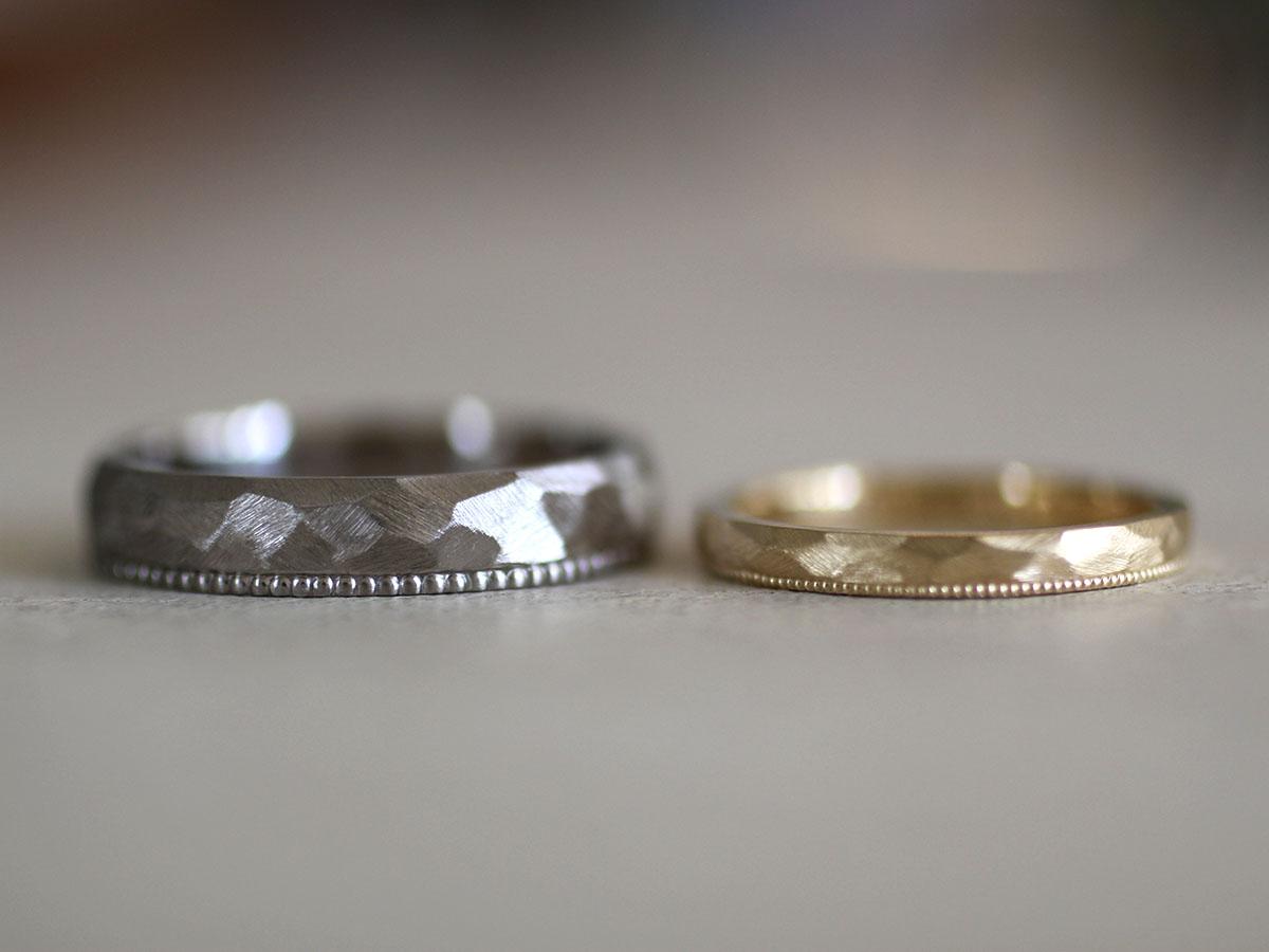 結婚指輪 ミル打ち 片方だけ