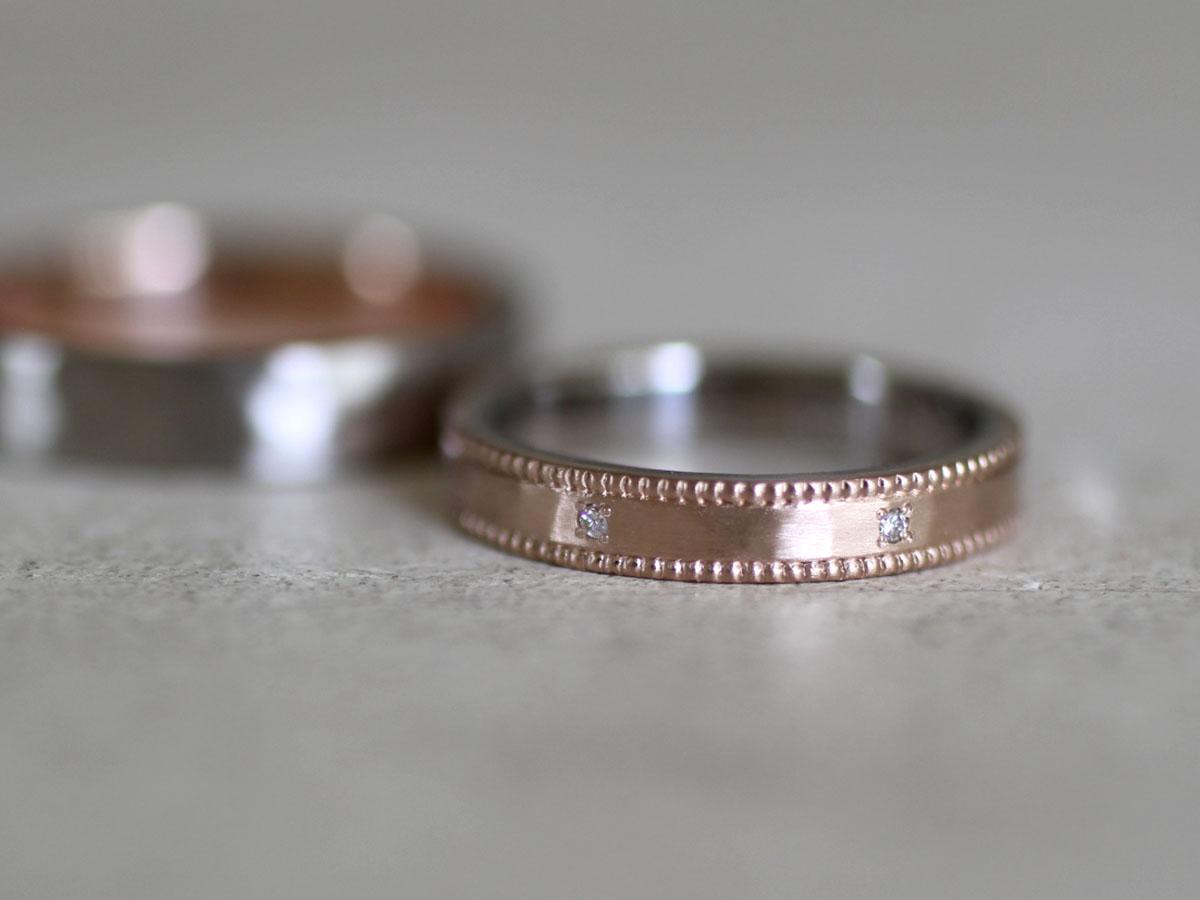 結婚指輪 オーダー制作 ミル打ち