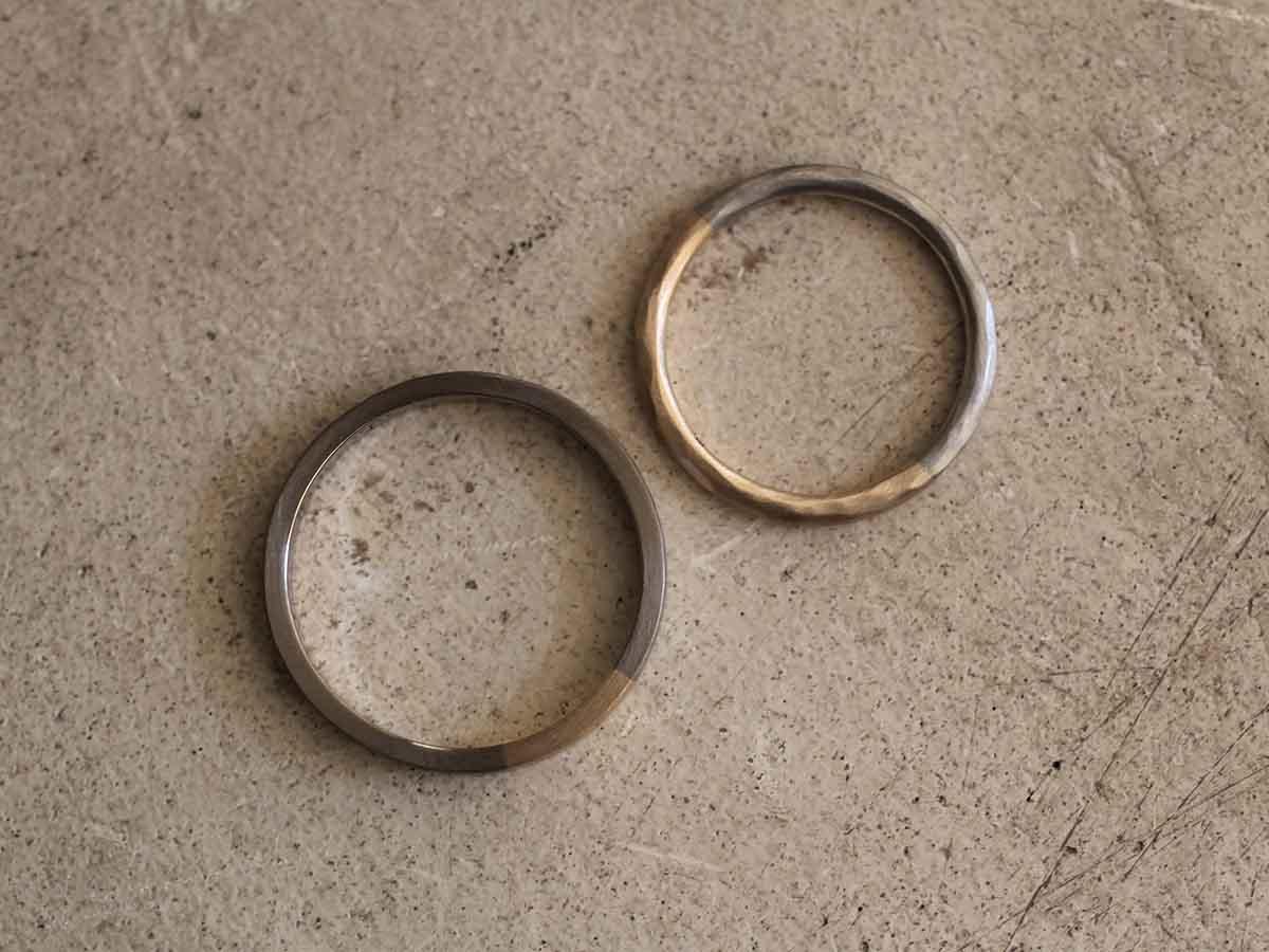 落ち着いたつや消しの結婚指輪