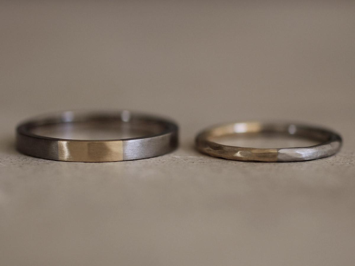 2種類の金属を使用した結婚指輪