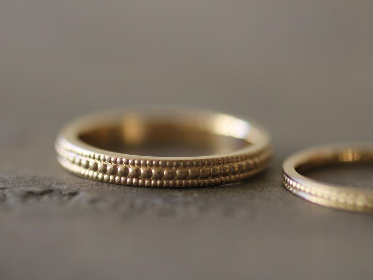 ワイルドなミル打ちの結婚指輪